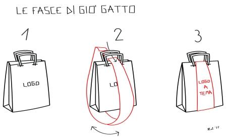 borse di carta per negozi rinnovate con le fasce di Gio'Gatto - con le Fasce di Gio'Gatto le borse di carta per negozi hanno una veste nuova. Ecco una soluzione low cost per rinnovare l'immagine delle borse di carta per negozi.